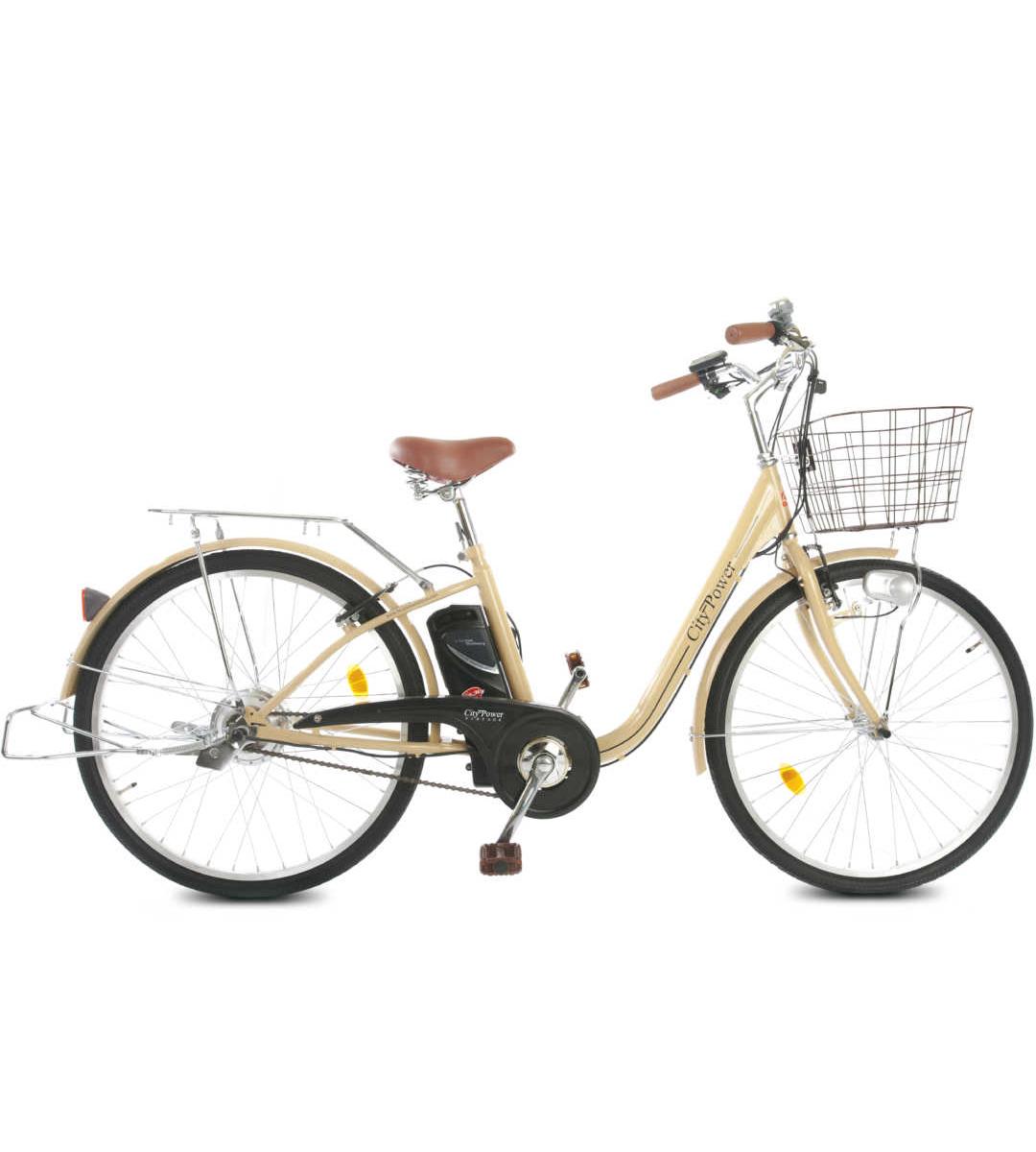"""City Power E-Bike / E-Fahrrad Elektrofahrrad 24"""" LI-Akku beige Bild 1"""