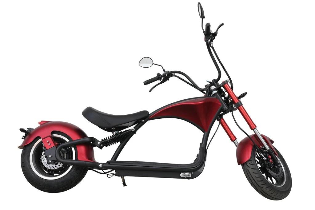 Elektroroller 45KM/H Mr.Harley C9 28 Ah E-Roller Chopper rot-matt Bild 2