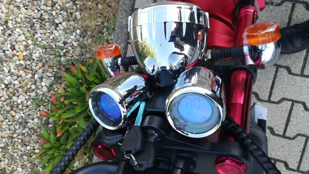 Elektroroller 45KM/H Mr.Harley C9 28 Ah E-Roller Chopper rot-matt Bild 6