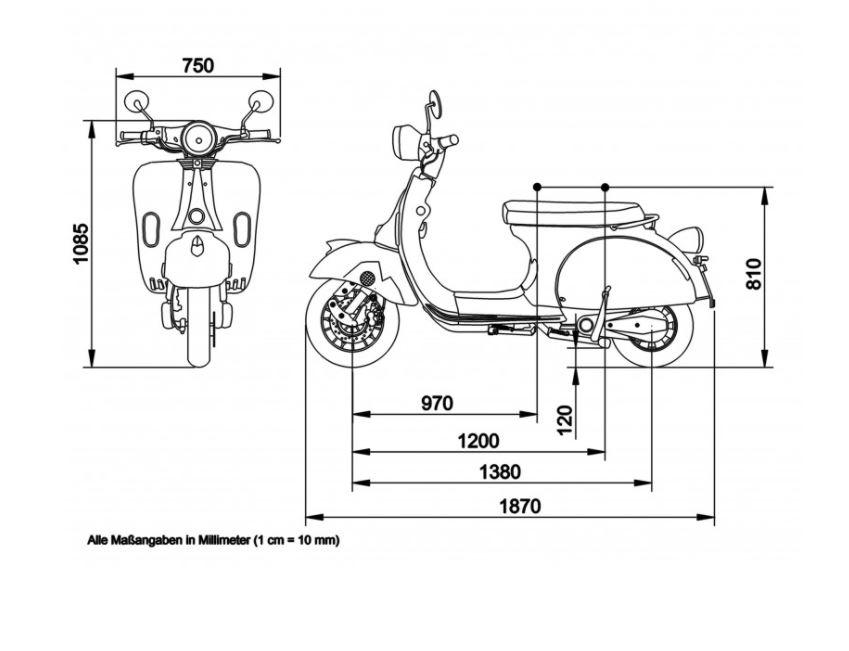 Elektroroller Retro 45KM/h Ginabella 2800-60 grau Gepäckträger und Box Bild 2