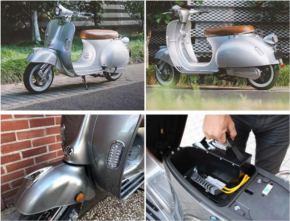 Elektroroller Retro Ginabella - 2000H / E - Motorroller 45Km/h grau Bild 8