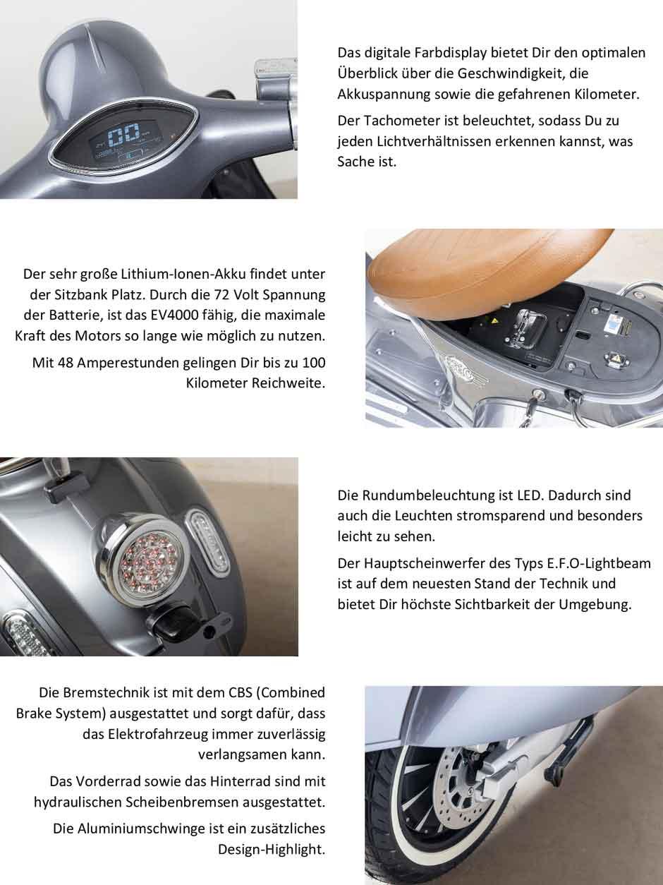 Elektroroller Retro 80KM/H Erwachsene Efo EV4000 Lithium Akku silber Bild 3