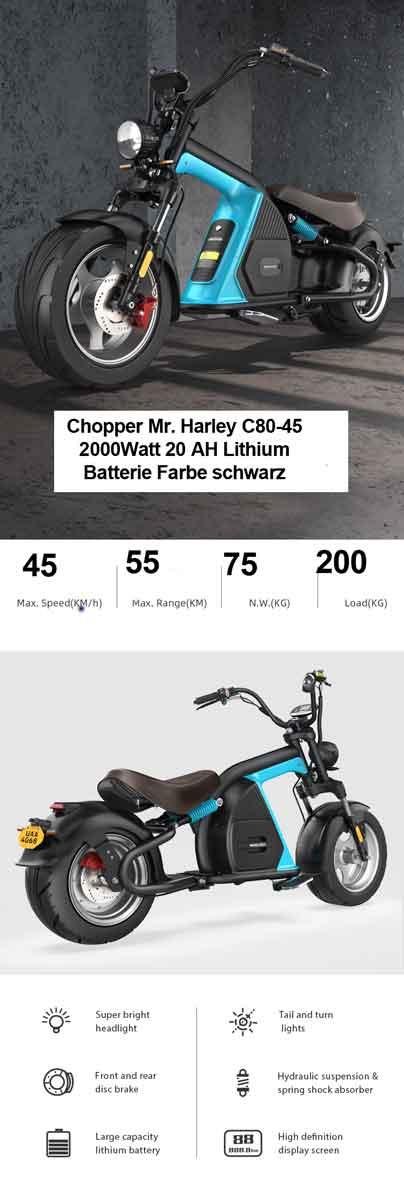E-Roller Elektroroller Chopper Mr. Harley C80-45 schwarz 30AH Bild 3