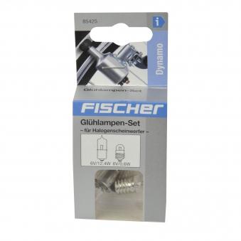 Fischer Fahrradbeleuchtung Dynamo / Glühlampen-Set Halogenscheinwerfer Bild 2
