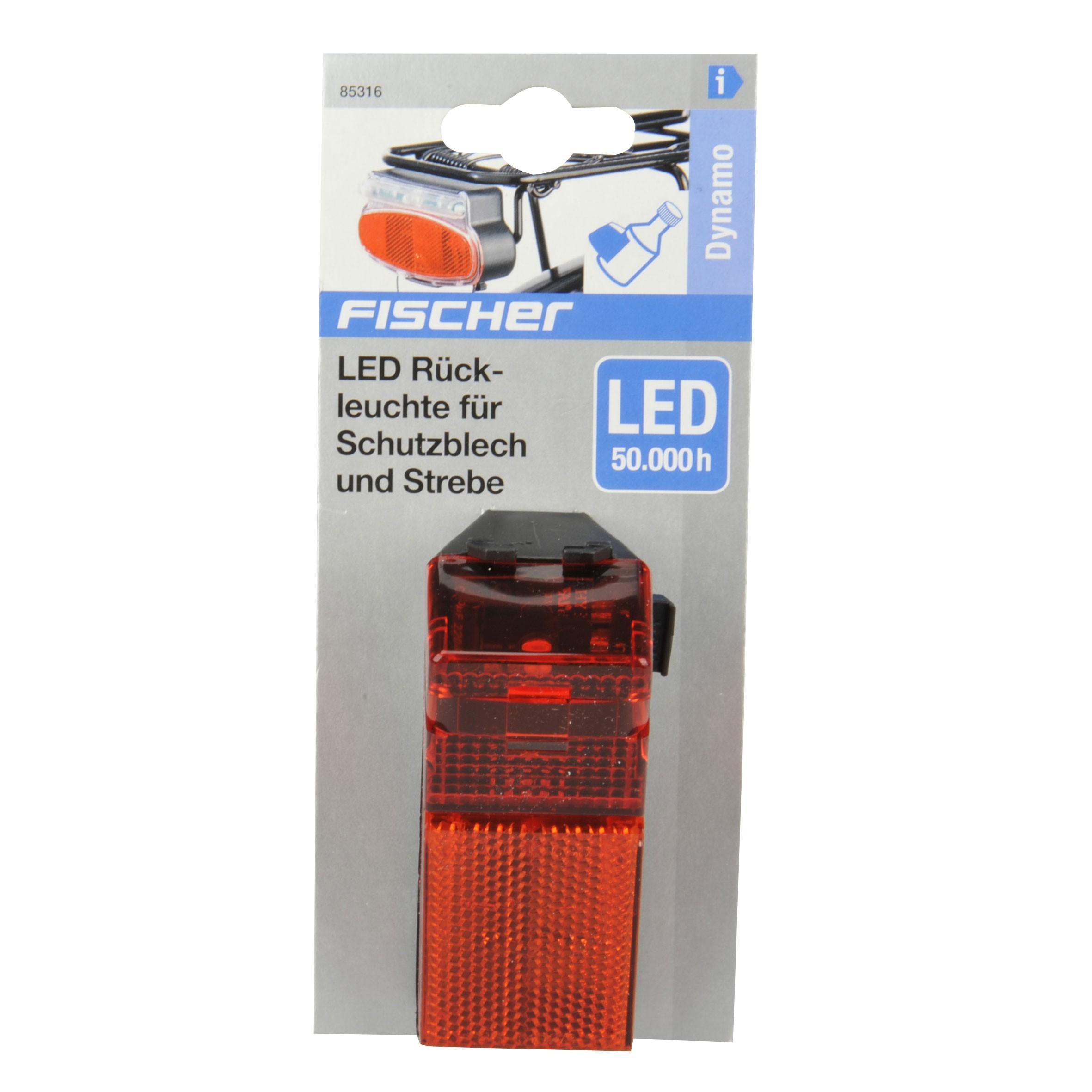fischer fahrradbeleuchtung mit dynamo led r ckleuchte mit reflektor bei. Black Bedroom Furniture Sets. Home Design Ideas