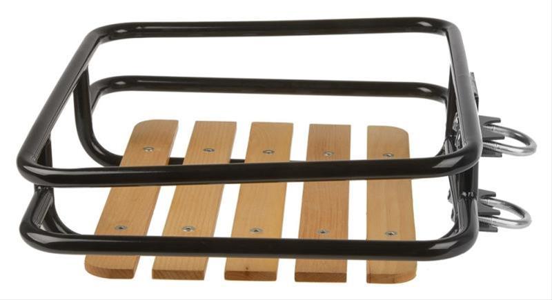 Vorderrad Gepäckträger mit Buchenholzauflage Bild 1