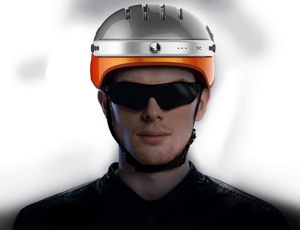 Powerpac Fahrradhelm Gr. L 53-58cm weiß orange mit Kamera Bild 2