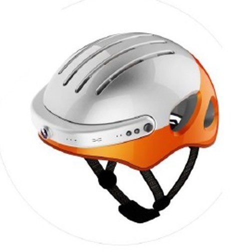 Powerpac Fahrradhelm Gr. L 53-58cm weiß orange mit Kamera Bild 3
