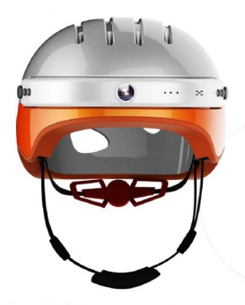 Powerpac Fahrradhelm Gr. L 53-58cm weiß orange mit Kamera Bild 1