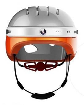 Powerpac Fahrradhelm Gr. XL 59-63cm weiß orange mit Kamera Bild 1