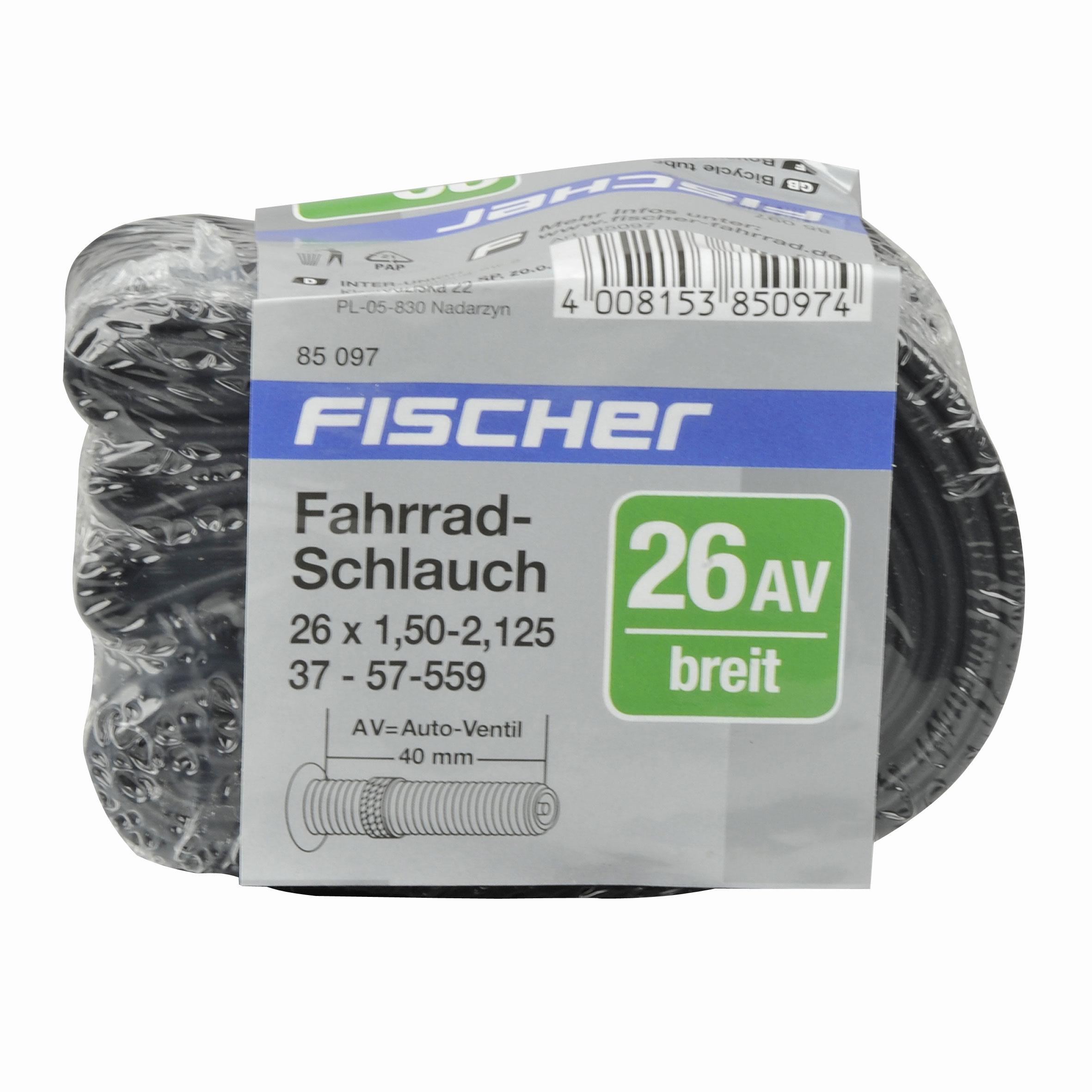 """Fischer Fahrrad Schlauch geschrumpft Auto Ventil 26x1,5-2,125"""" Bild 2"""