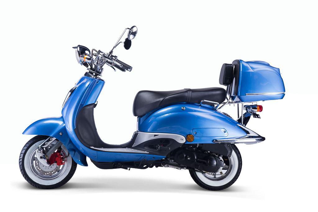 Motorroller, Moped, Mofa 50 ccm Klassik Azuro 4.0 blau Sitz schwarz Bild 1