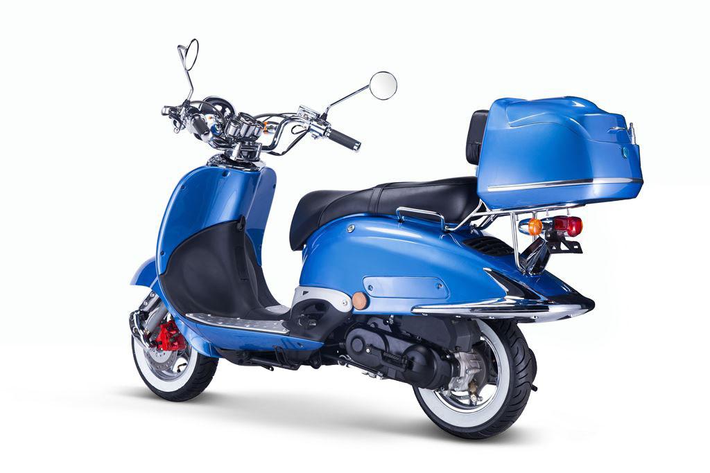 Motorroller, Moped, Mofa 50 ccm Klassik Azuro 4.0 blau Sitz schwarz Bild 2