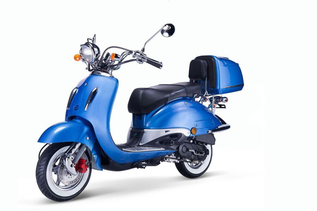 Motorroller, Moped, Mofa 50 ccm Klassik Azuro 4.0 blau Sitz schwarz Bild 3