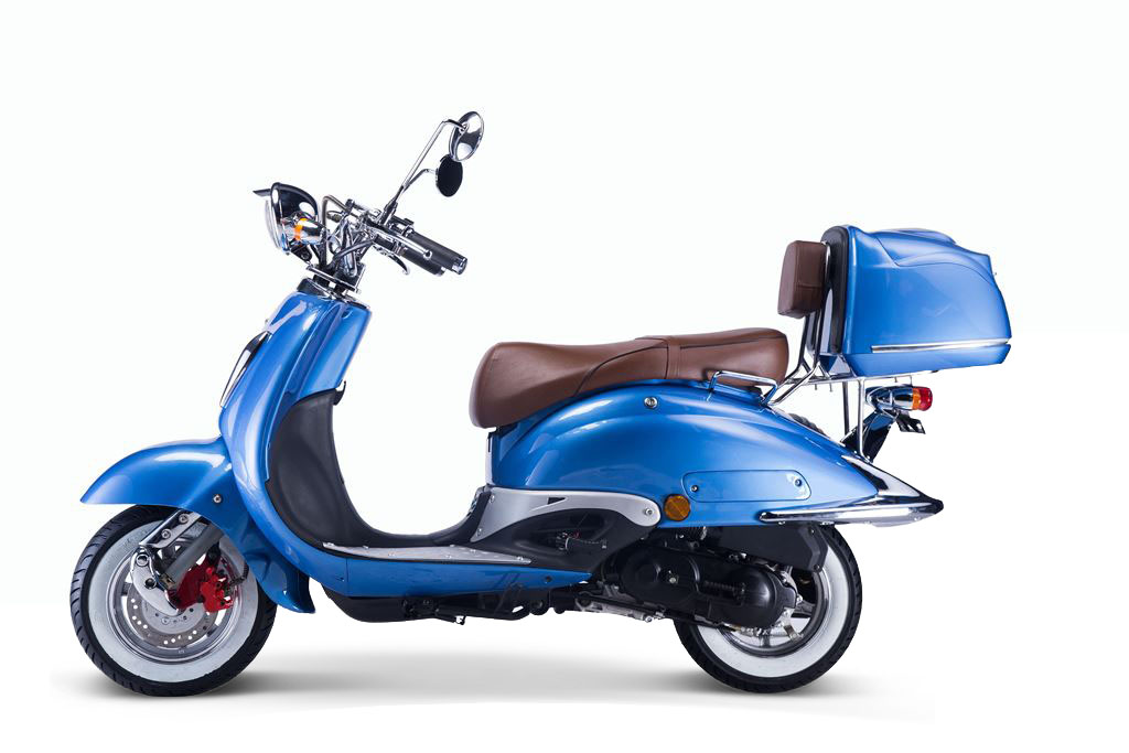 Motorroller, Moped, Mofa 50 ccm Klassik Azuro 4.0 blau Sitzbank braun Bild 1