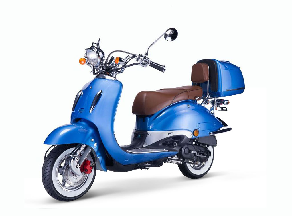 Motorroller, Moped, Mofa 50 ccm Klassik Azuro 4.0 blau Sitzbank braun Bild 2