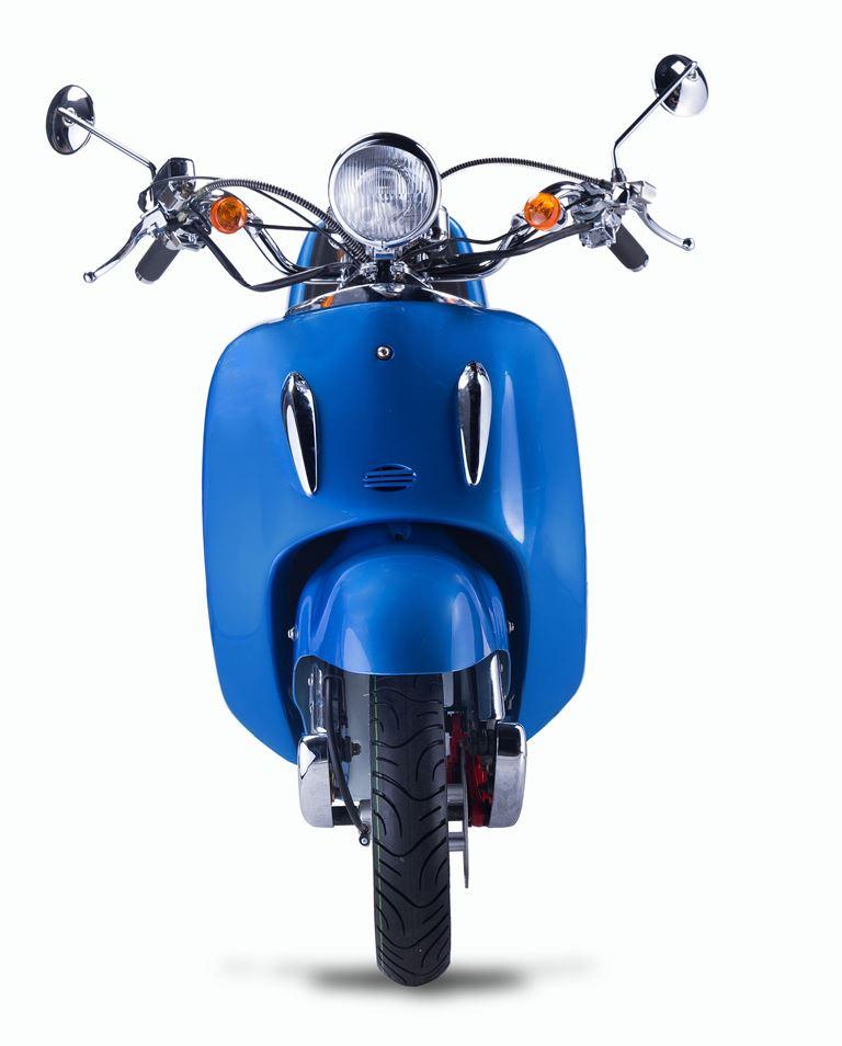 Motorroller, Moped, Mofa 50 ccm Klassik Azuro 4.0 blau Sitzbank braun Bild 4