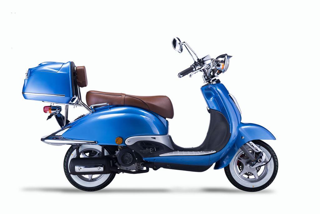 Motorroller, Moped, Mofa 50 ccm Klassik Azuro 4.0 blau Sitzbank braun Bild 5