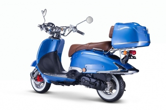 Motorroller, Moped, Mofa 50 ccm Klassik Azuro 4.0 blau Sitzbank braun Bild 3