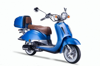 Motorroller, Moped, Mofa 50 ccm Klassik Azuro 4.0 blau Sitzbank braun Bild 6