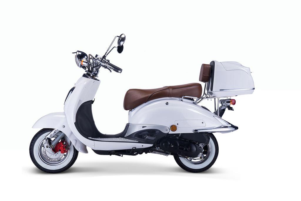 Motorroller, Moped, Mofa 50 ccm Klassik Monte 4.0 weiss-braun Bild 2
