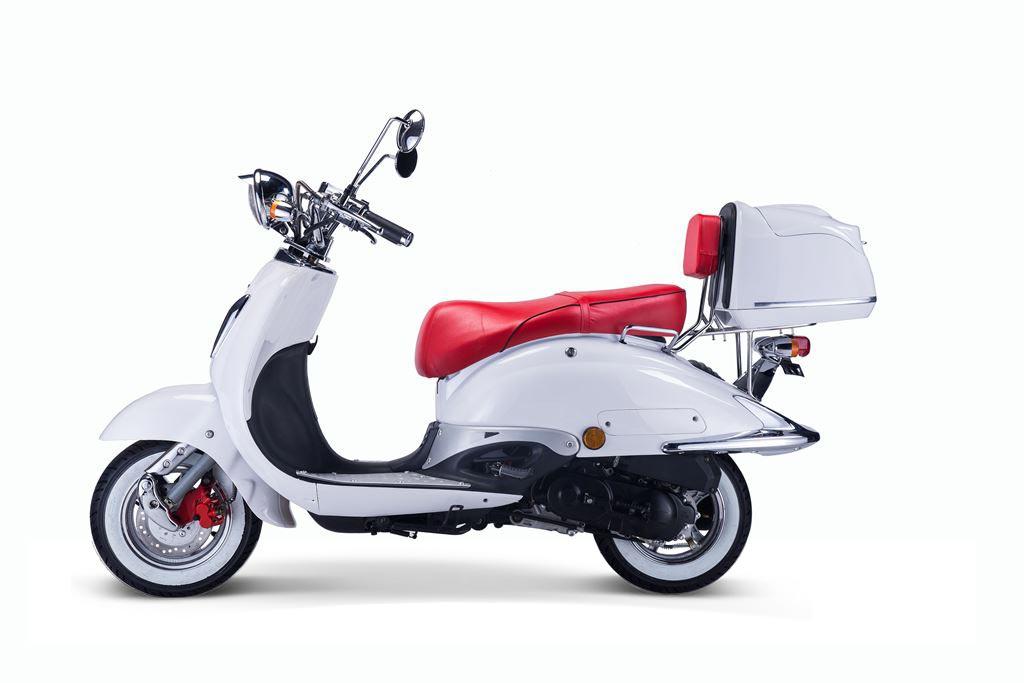 Motorroller, Moped, Mofa 50 ccm Klassik Monte 4.0 weiss-rot Bild 1