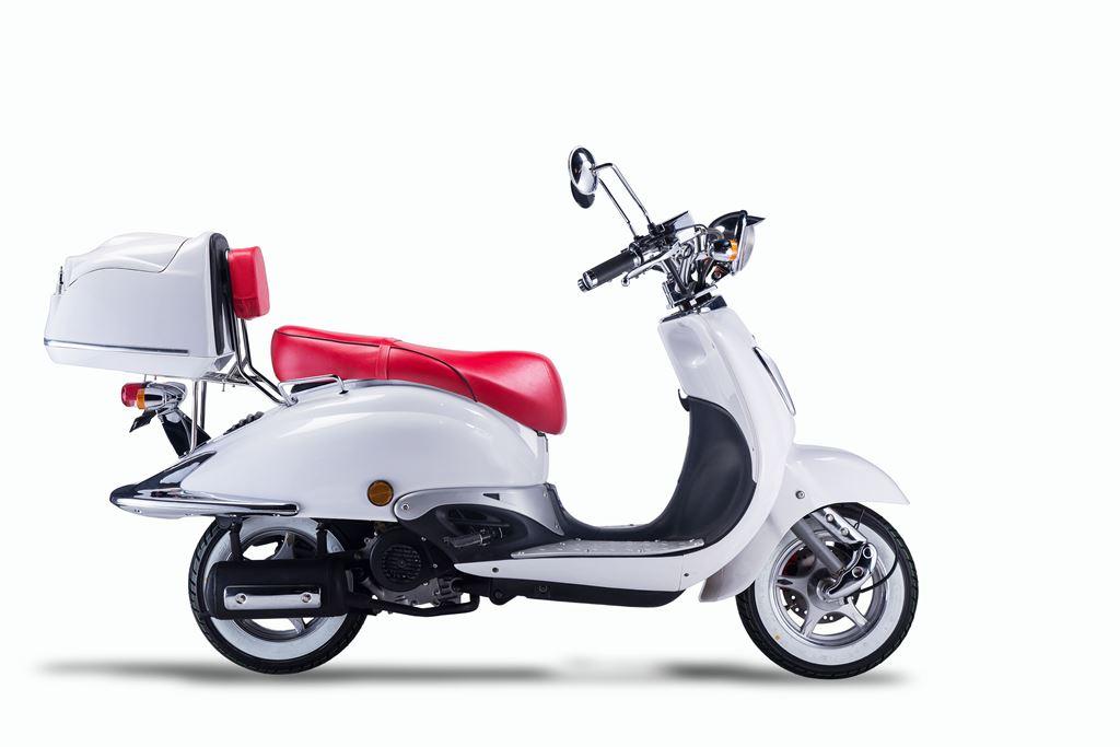 Motorroller, Moped, Mofa 50 ccm Klassik Monte 4.0 weiss-rot Bild 4