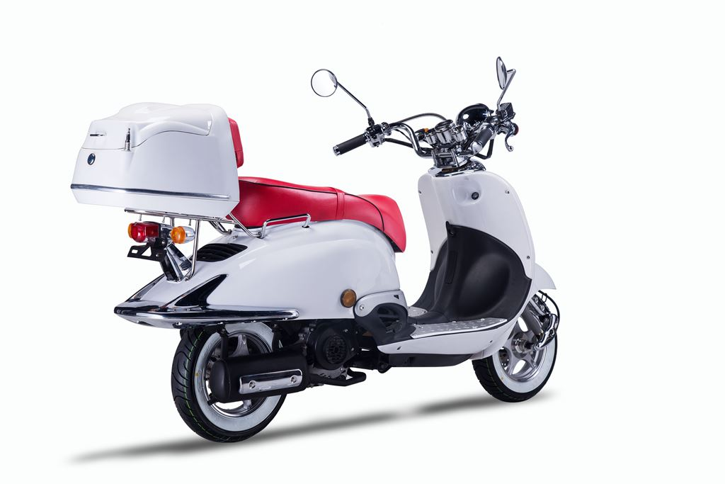 Motorroller, Moped, Mofa 50 ccm Klassik Monte 4.0 weiss-rot Bild 5