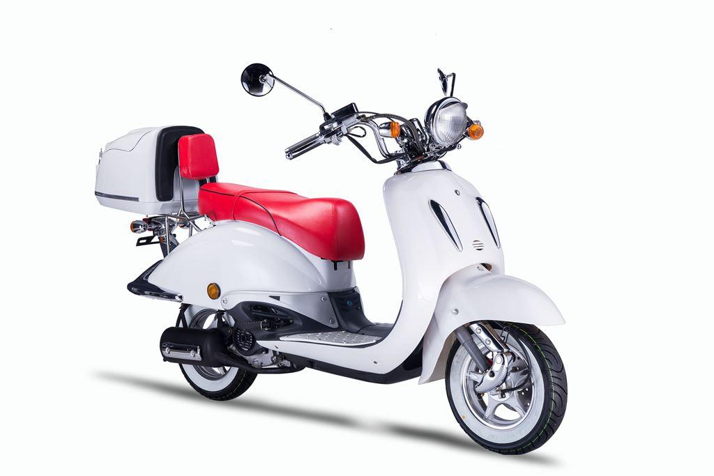 Motorroller, Moped, Mofa 50 ccm Klassik Monte 4.0 weiss-rot Bild 6
