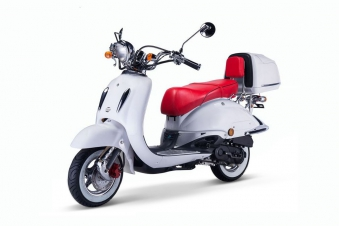 Motorroller, Moped, Mofa 50 ccm Klassik Monte 4.0 weiss-rot Bild 2