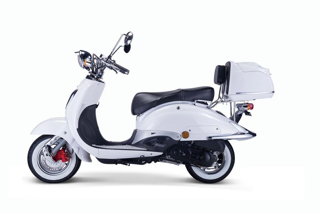 Motorroller, Moped, Mofa 50 ccm Klassik Monte 4.0 weiss-schwarz Bild 1
