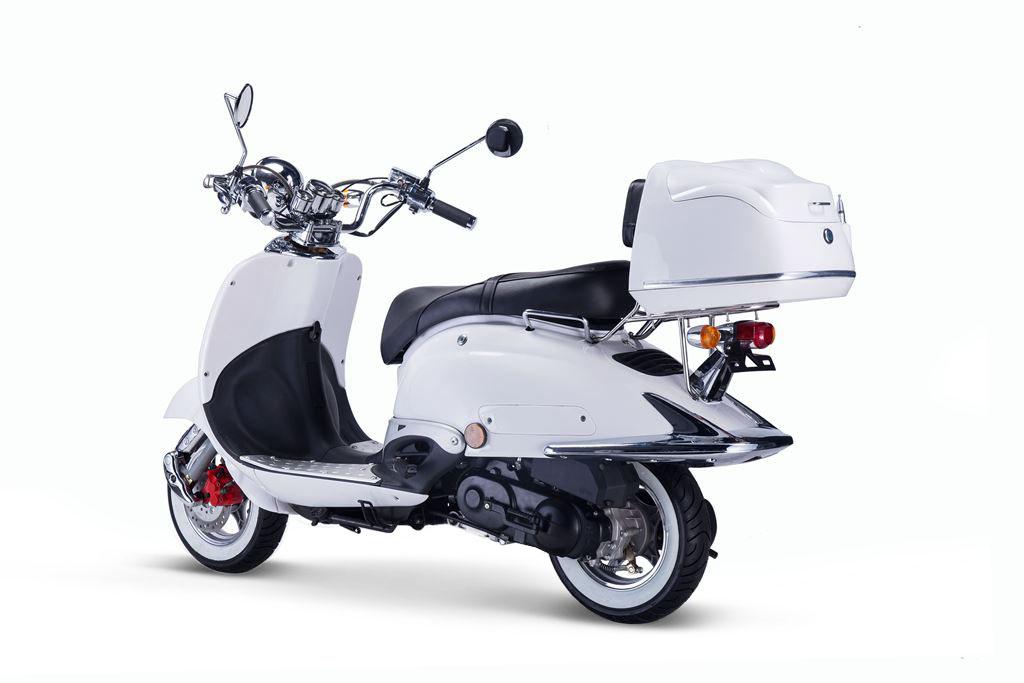 Motorroller, Moped, Mofa 50 ccm Klassik Monte 4.0 weiss-schwarz Bild 2
