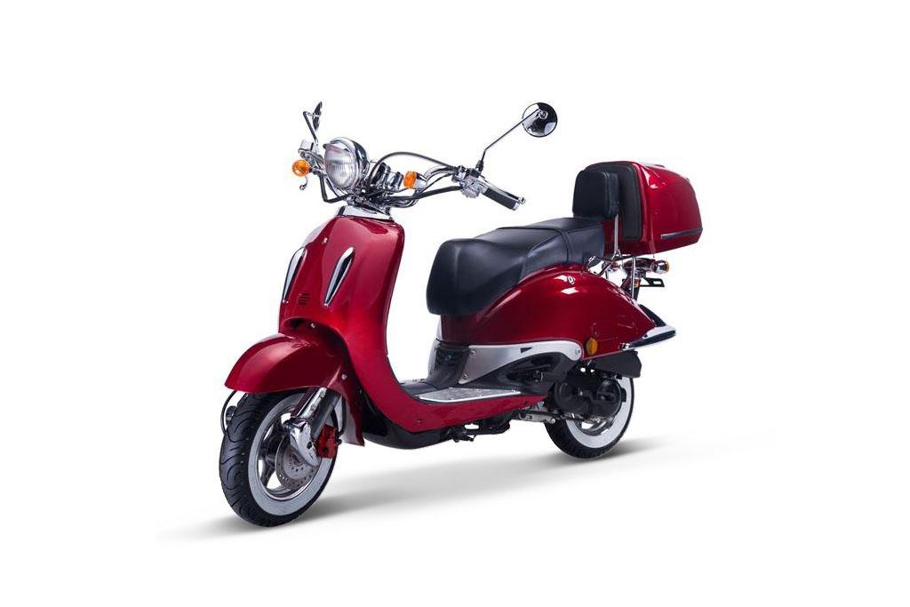 Motorroller, Moped, Mofa 50 ccm Klassik Vesuv 4.0 rot Sitzbank schwarz Bild 3