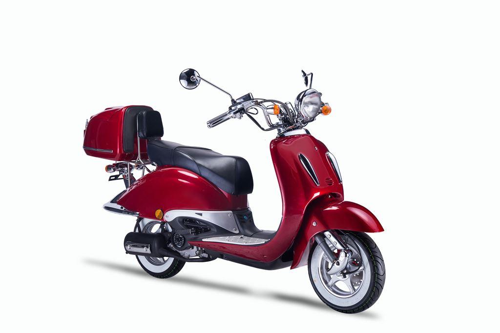Motorroller, Moped, Mofa 50 ccm Klassik Vesuv 4.0 rot Sitzbank schwarz Bild 6