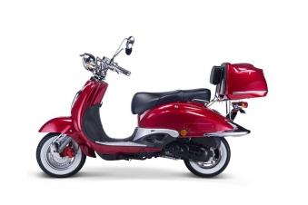 Motorroller, Moped, Mofa 50 ccm Klassik Vesuv 4.0 rot Sitzbank schwarz Bild 1