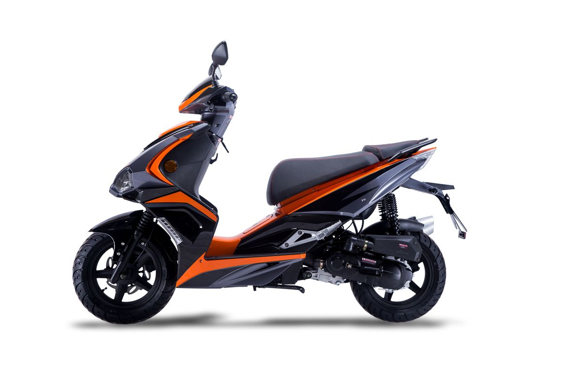 Roller / Moped Siegfried 50ccm 45km/h schwarz / orange Bild 1