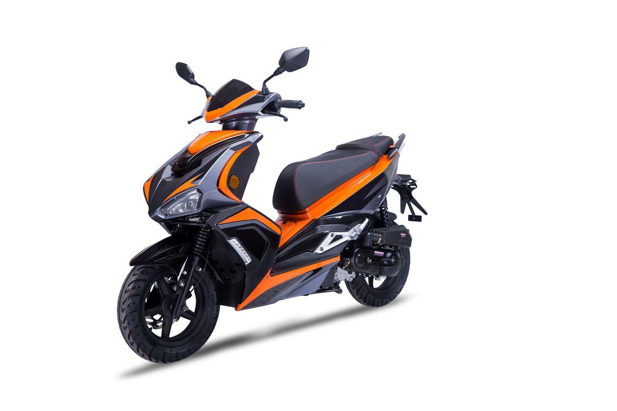 Roller / Moped Siegfried 50ccm 45km/h schwarz / orange Bild 2
