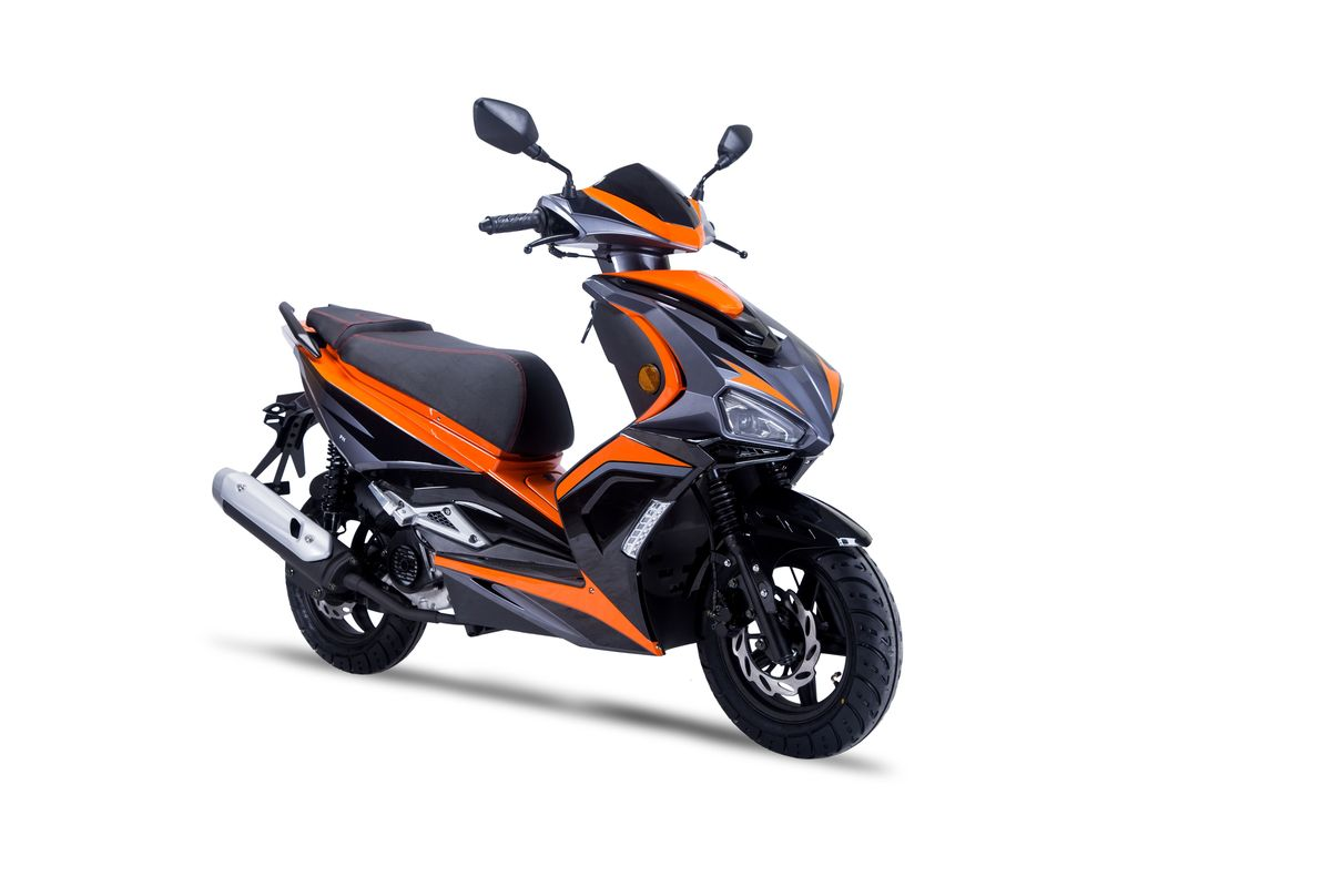 Roller / Moped Siegfried 50ccm 45km/h schwarz / orange Bild 3