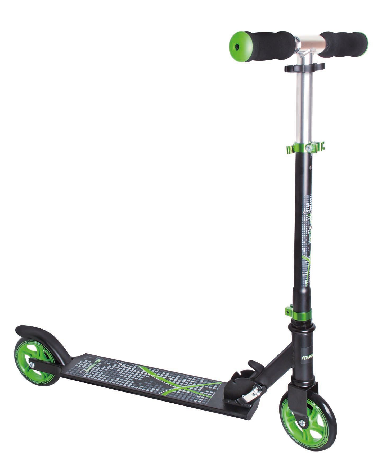 Alu Scooter / Cityroller Muuwmi 125mm schwarz-grün Bild 1
