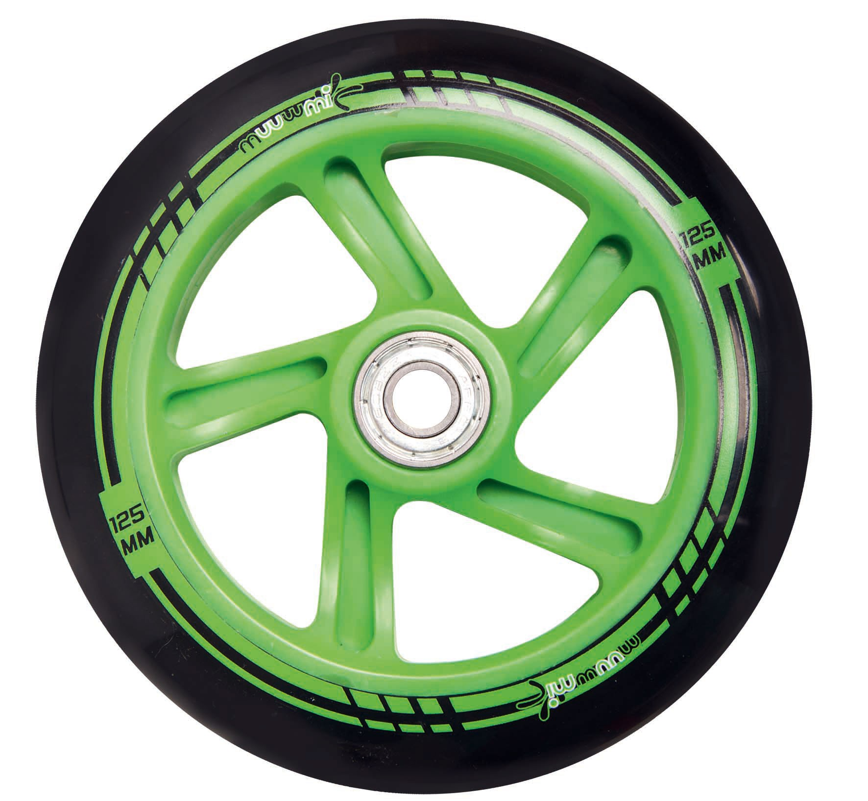 Alu Scooter / Cityroller Muuwmi 125mm schwarz-grün Bild 4