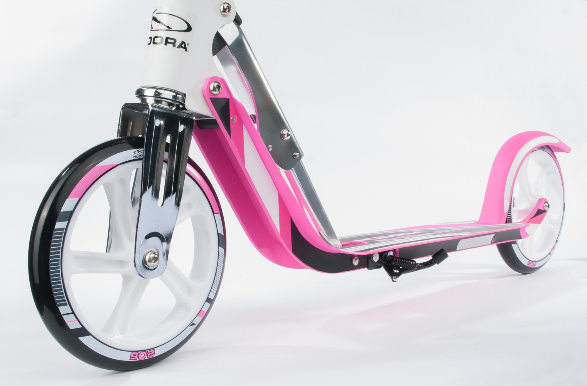 cityroller alu scooter hudora big wheel rx pro 205 wei pink bei. Black Bedroom Furniture Sets. Home Design Ideas