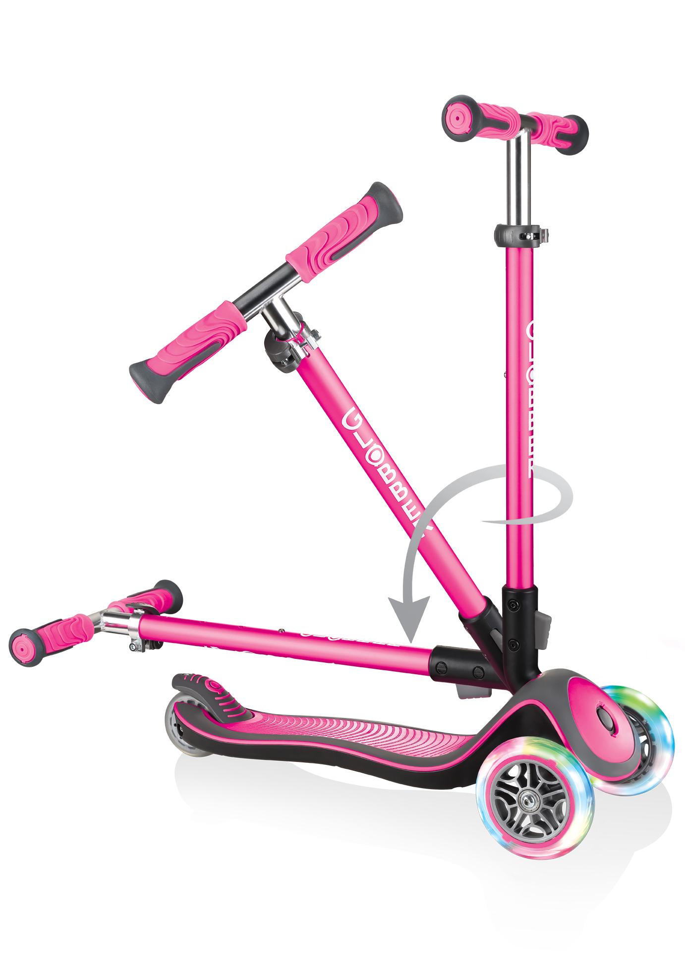 Scooter Kinderroller Globber Elite Deluxe Scooter pink +Leuchtrollen Bild 3