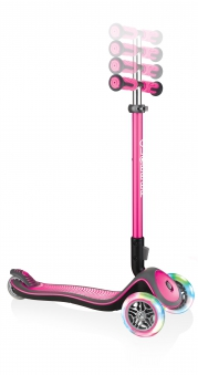 Scooter Kinderroller Globber Elite Deluxe Scooter pink +Leuchtrollen Bild 2