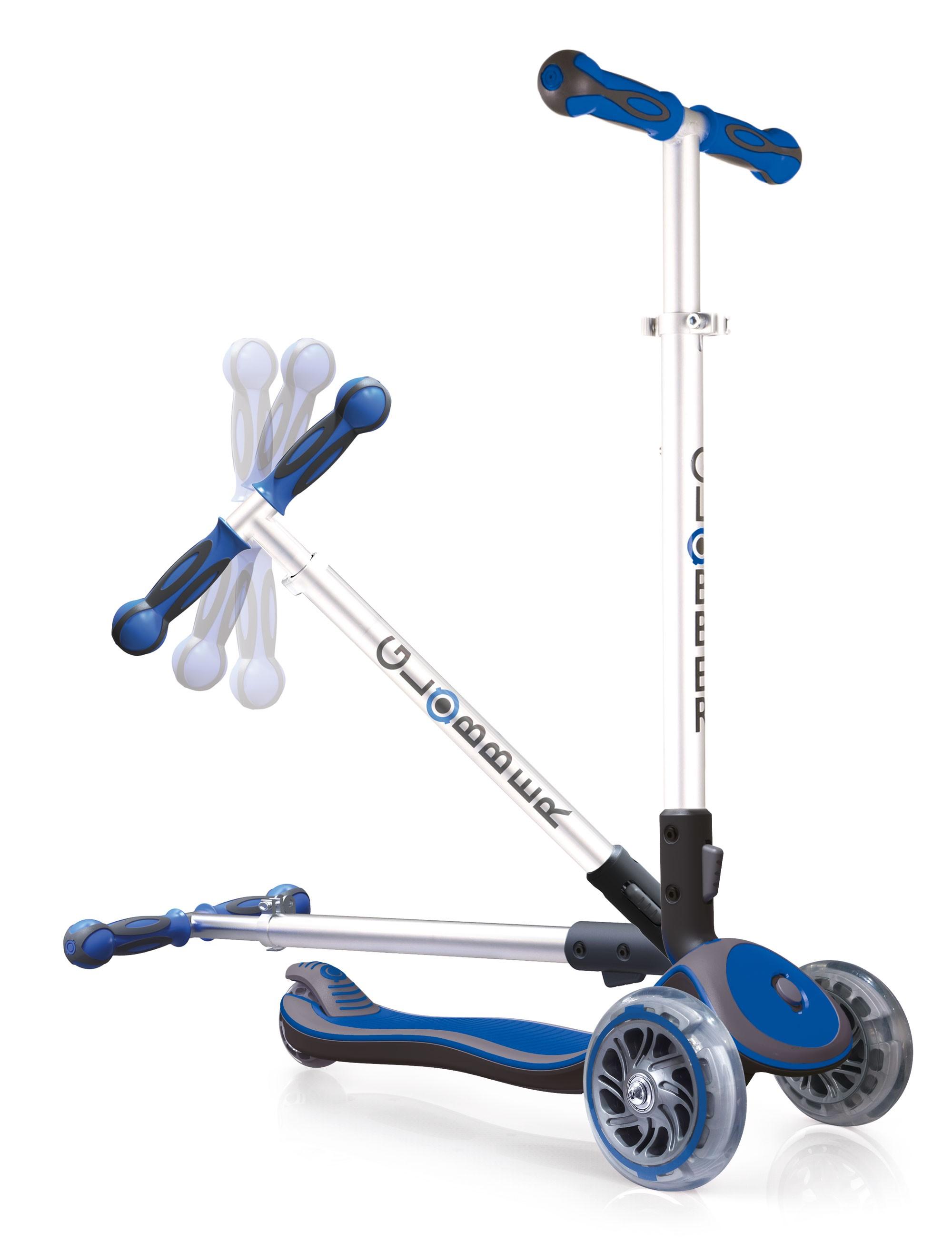 Scooter / Kinderroller Globber MY FREE Fold UP blau-grau Bild 3