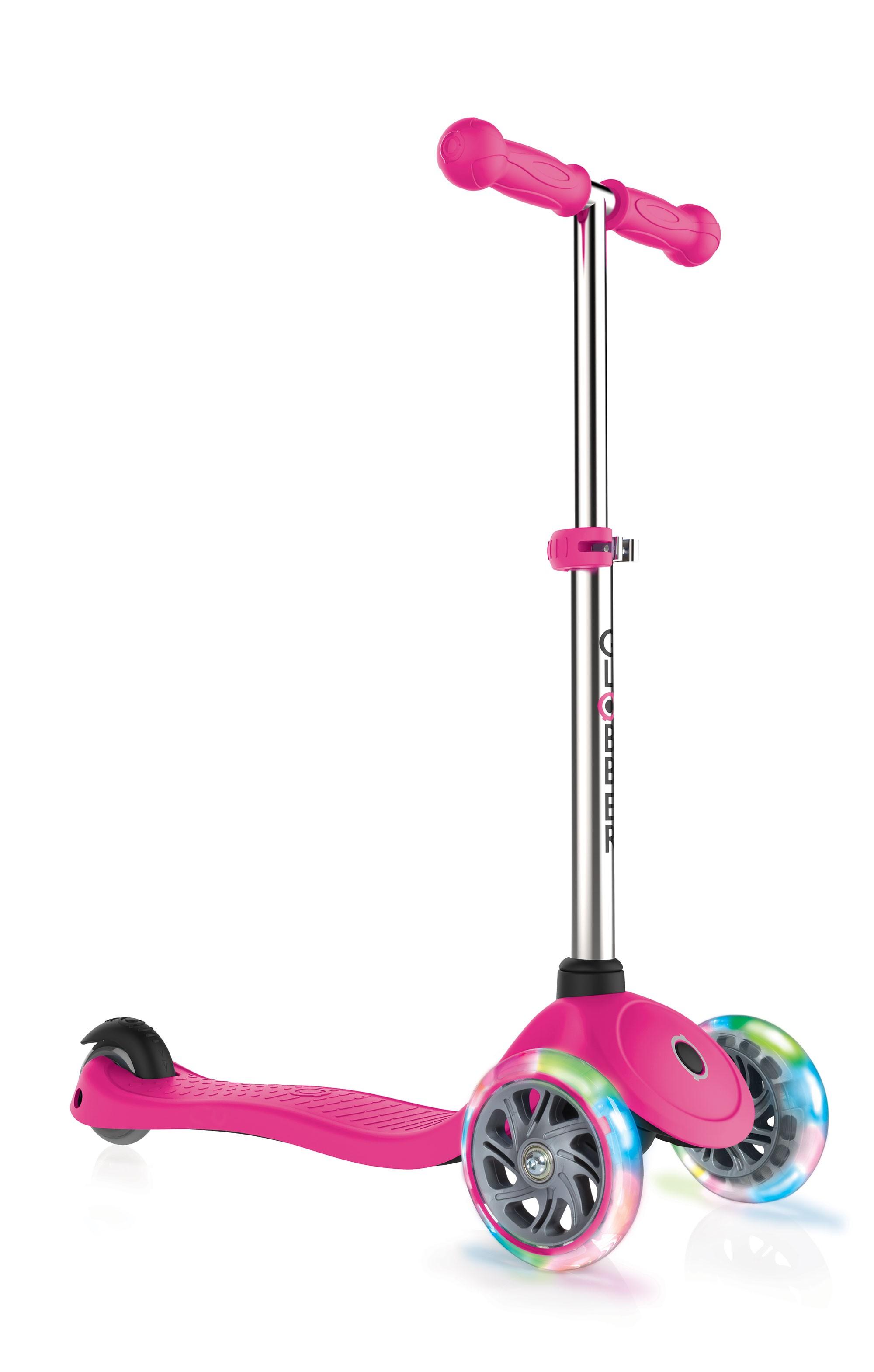 Scooter Kinderroller Globber Primo lights pink mit Leuchtrolle Bild 1