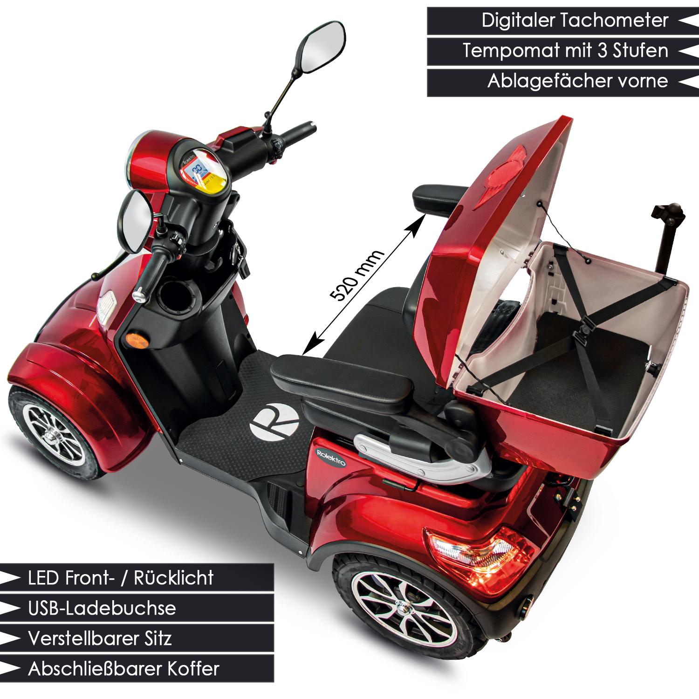 Seniorenmobil Elektromobil 15KM/H rot Rolektro Quad 15 V3LI Bild 2