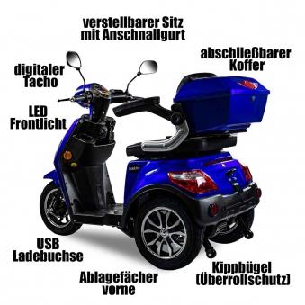 Seniorenmobil, Elektromobil, Elektrodreirad Rolektro 1000/30 blau Bild 3