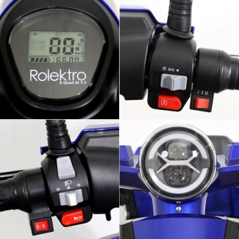 Seniorenmobil Elektromobil Elektroroller Rolektro Quad 25BG blau Bild 8