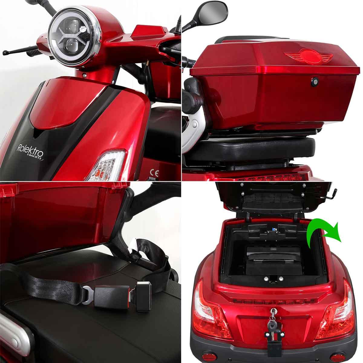 Seniorenmobil Elektromobil Elektroroller Rolektro Quad 25BG rot Bild 3