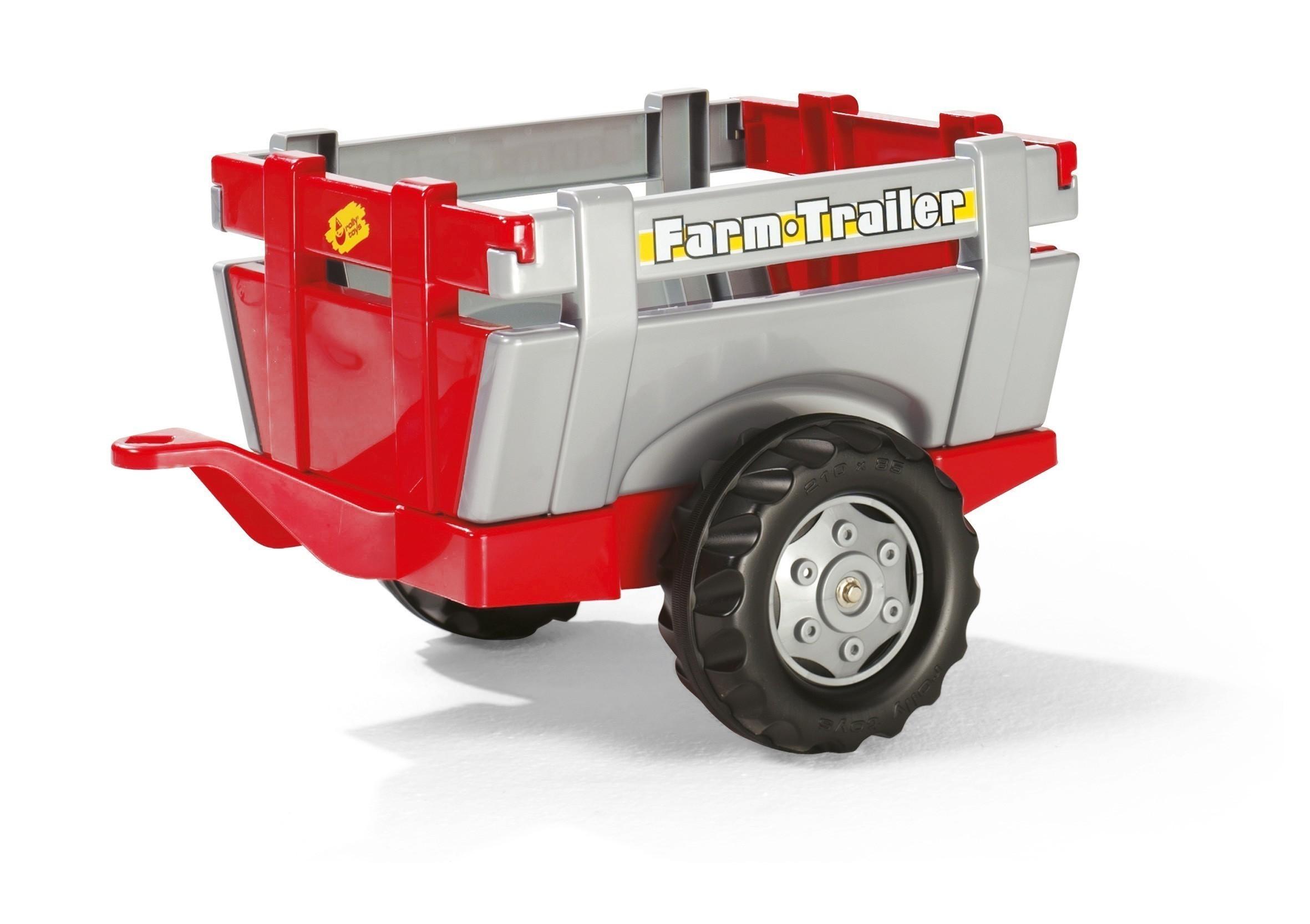 Anhänger für Tretfahrzeuge rolly Farm Trailer rot-silber - Rolly Toys Bild 1